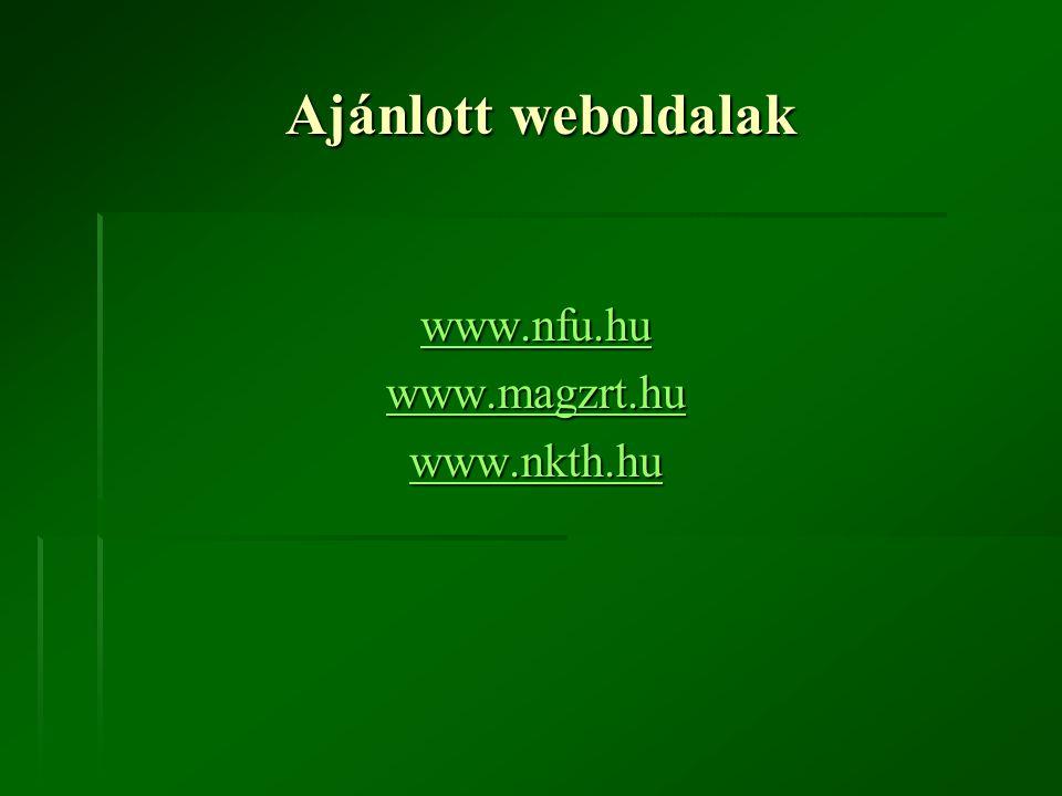 Ajánlott weboldalak www.nfu.hu www.magzrt.hu www.nkth.hu
