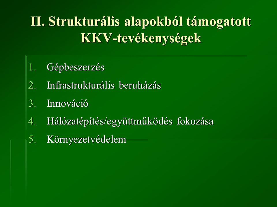 II. Strukturális alapokból támogatott KKV-tevékenységek 1.Gépbeszerzés 2.Infrastrukturális beruházás 3.Innováció 4.Hálózatépítés/együttműködés fokozás