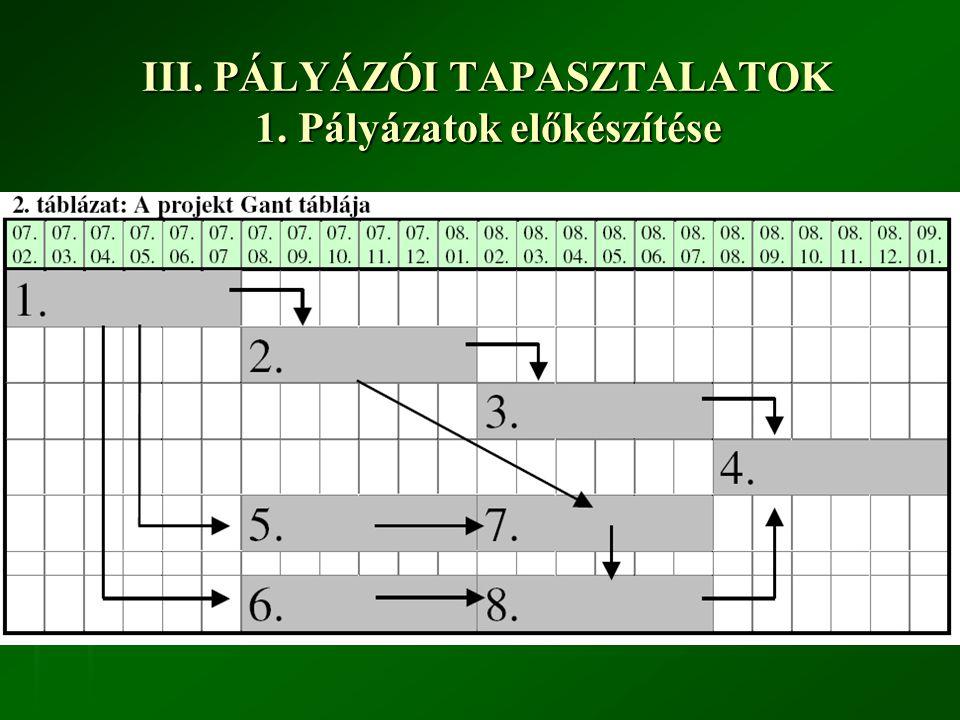 III. PÁLYÁZÓI TAPASZTALATOK 1.