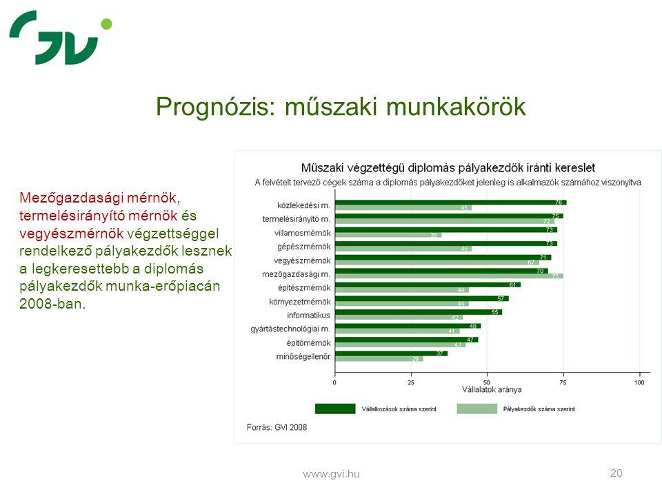 www.gvi.hu 20 Prognózis: műszaki munkakörök Mezőgazdasági mérnök, termelésirányító mérnök és vegyészmérnök végzettséggel rendelkező pályakezdők lesznek a legkeresettebb a diplomás pályakezdők munka-erőpiacán 2008-ban.