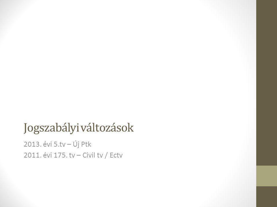 Jogszabályi változások 2013. évi 5.tv – Új Ptk 2011. évi 175. tv – Civil tv / Ectv