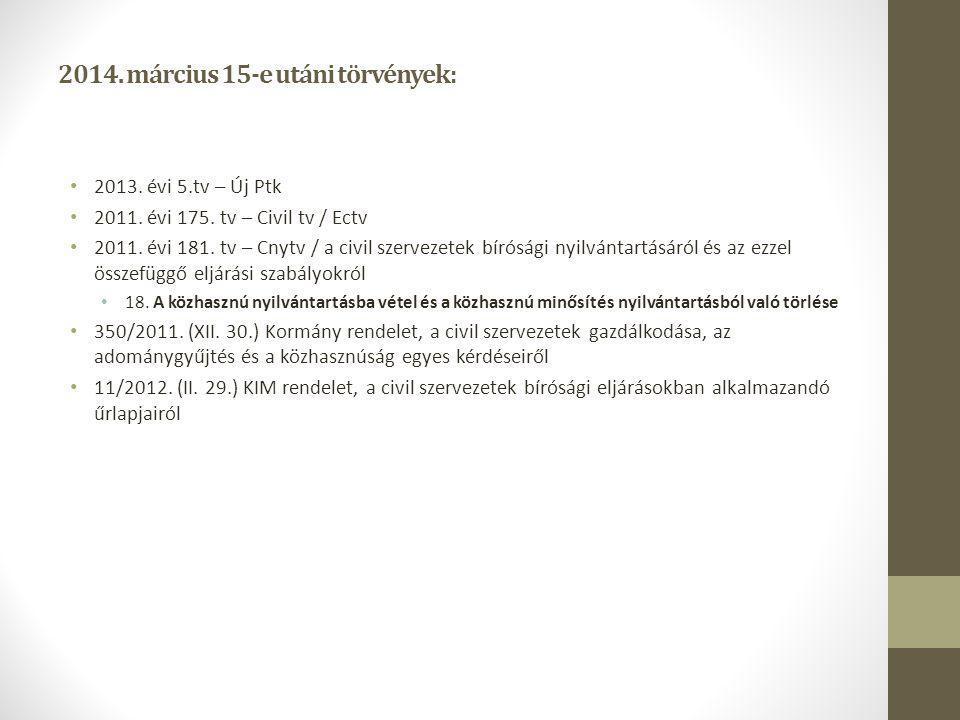 2014. március 15-e utáni törvények: 2013. évi 5.tv – Új Ptk 2011. évi 175. tv – Civil tv / Ectv 2011. évi 181. tv – Cnytv / a civil szervezetek bírósá