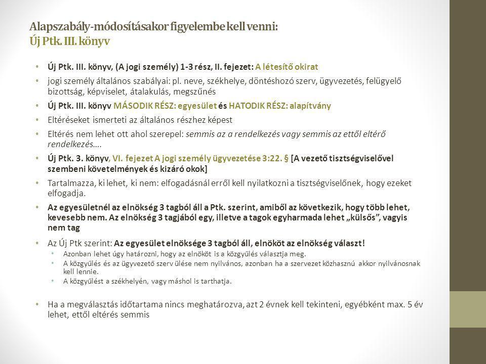 Alapszabály-módosításakor figyelembe kell venni: Új Ptk. III. könyv Új Ptk. III. könyv, (A jogi személy) 1-3 rész, II. fejezet: A létesítő okirat jogi
