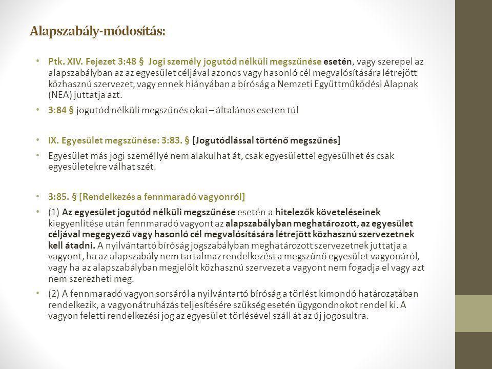 Alapszabály-módosítás: Ptk. XIV. Fejezet 3:48 § Jogi személy jogutód nélküli megszűnése esetén, vagy szerepel az alapszabályban az az egyesület céljáv