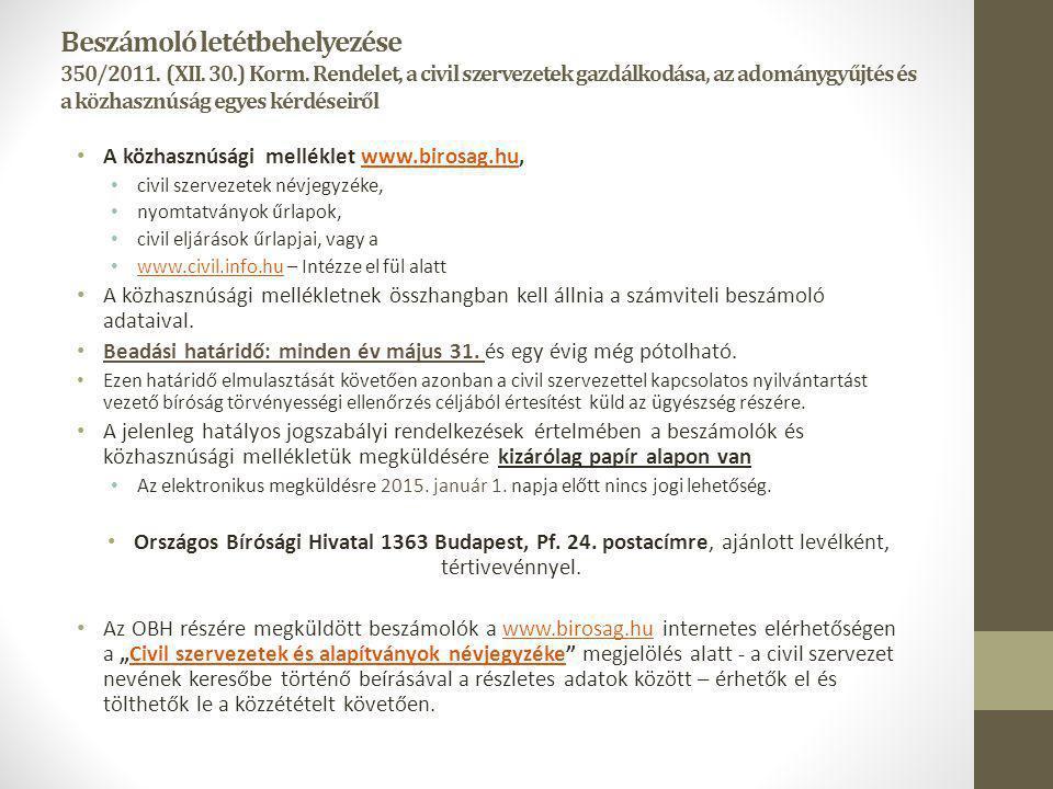 Beszámoló letétbehelyezése 350/2011. (XII. 30.) Korm. Rendelet, a civil szervezetek gazdálkodása, az adománygyűjtés és a közhasznúság egyes kérdéseirő