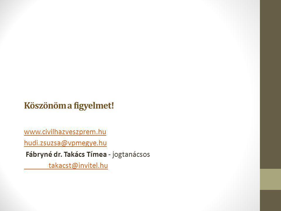 Köszönöm a figyelmet! www.civilhazveszprem.hu hudi.zsuzsa@vpmegye.hu Fábryné dr. Takács Tímea - jogtanácsos takacst@invitel.hu
