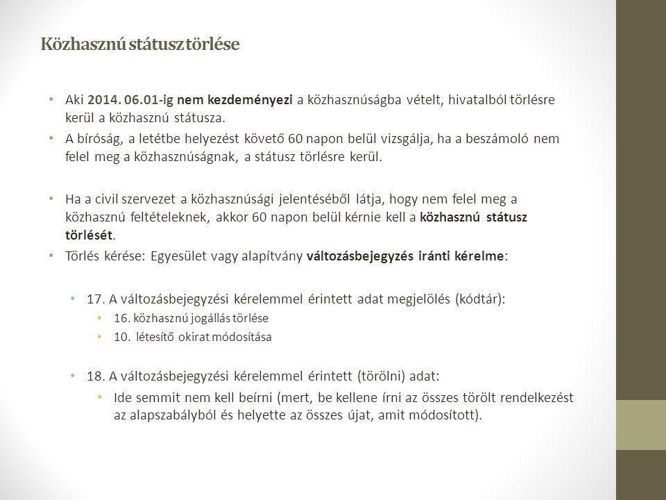 Közhasznú státusz törlése Aki 2014. 06.01-ig nem kezdeményezi a közhasznúságba vételt, hivatalból törlésre kerül a közhasznú státusza. A bíróság, a le