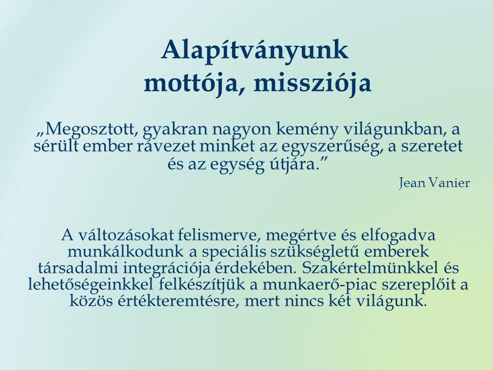 """Alapítványunk mottója, missziója """"Megosztott, gyakran nagyon kemény világunkban, a sérült ember rávezet minket az egyszerűség, a szeretet és az egység útjára. Jean Vanier A változásokat felismerve, megértve és elfogadva munkálkodunk a speciális szükségletű emberek társadalmi integrációja érdekében."""
