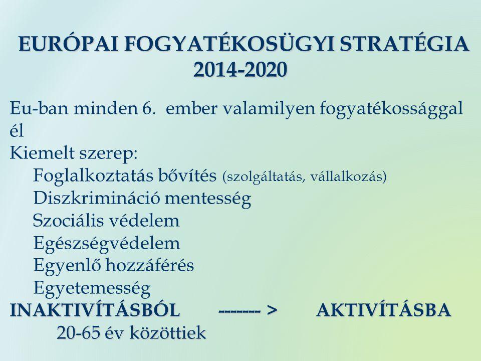 EURÓPAI FOGYATÉKOSÜGYI STRATÉGIA EURÓPAI FOGYATÉKOSÜGYI STRATÉGIA2014-2020 Eu-ban minden 6.