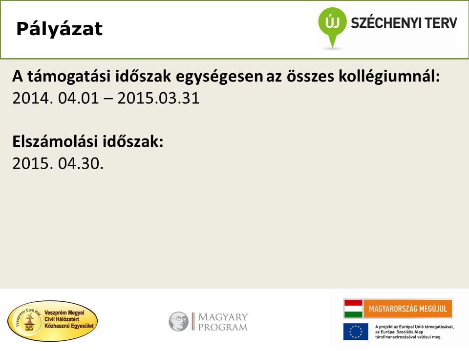 Pályázat A támogatási időszak egységesen az összes kollégiumnál: 2014. 04.01 – 2015.03.31 Elszámolási időszak: 2015. 04.30.