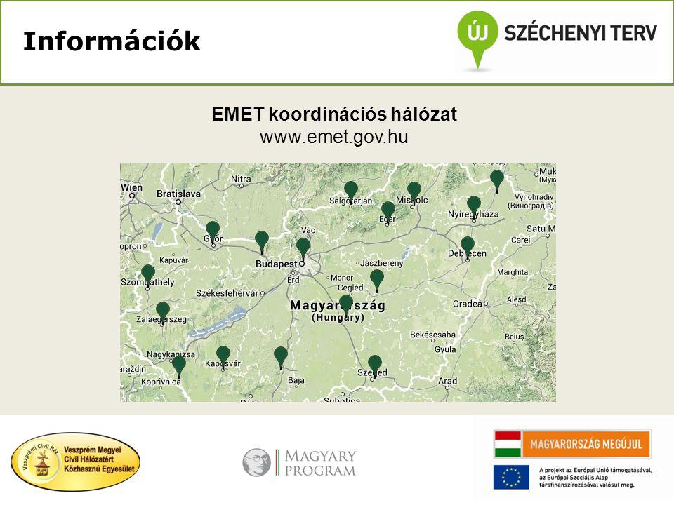 Információk EMET koordinációs hálózat www.emet.gov.hu