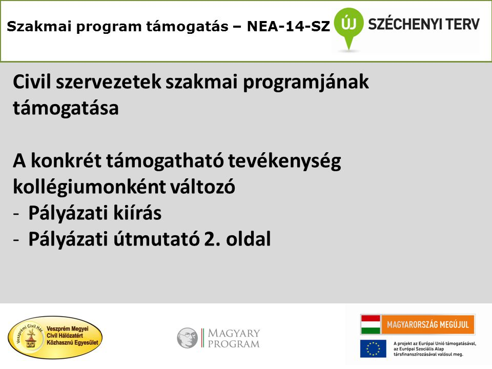 Szakmai program támogatás – NEA-14-SZ Civil szervezetek szakmai programjának támogatása A konkrét támogatható tevékenység kollégiumonként változó -Pályázati kiírás -Pályázati útmutató 2.