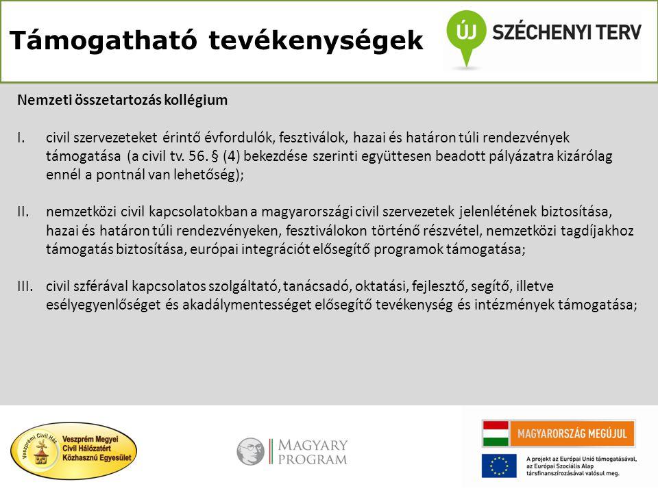 Támogatható tevékenységek Nemzeti összetartozás kollégium I.civil szervezeteket érintő évfordulók, fesztiválok, hazai és határon túli rendezvények tám