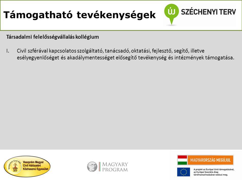 Támogatható tevékenységek Társadalmi felelősségvállalás kollégium I.Civil szférával kapcsolatos szolgáltató, tanácsadó, oktatási, fejlesztő, segítő, i