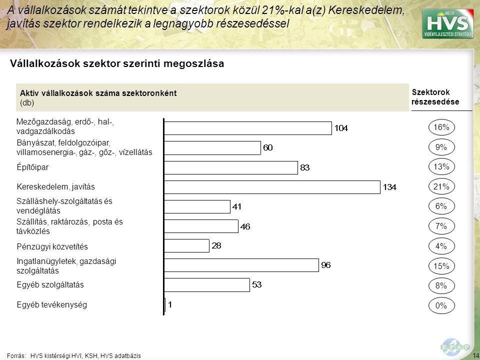 14 Forrás:HVS kistérségi HVI, KSH, HVS adatbázis Vállalkozások szektor szerinti megoszlása A vállalkozások számát tekintve a szektorok közül 21%-kal a