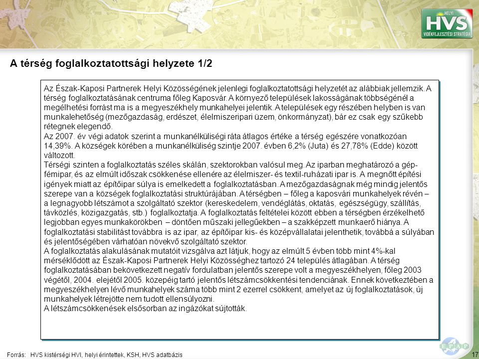 17 Az Észak-Kaposi Partnerek Helyi Közösségének jelenlegi foglalkoztatottsági helyzetét az alábbiak jellemzik. A térség foglalkoztatásának centruma fő