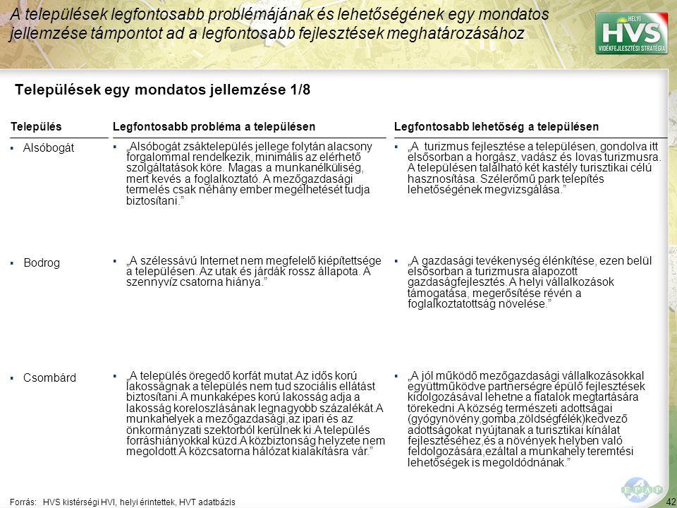 42 Települések egy mondatos jellemzése 1/8 A települések legfontosabb problémájának és lehetőségének egy mondatos jellemzése támpontot ad a legfontosa