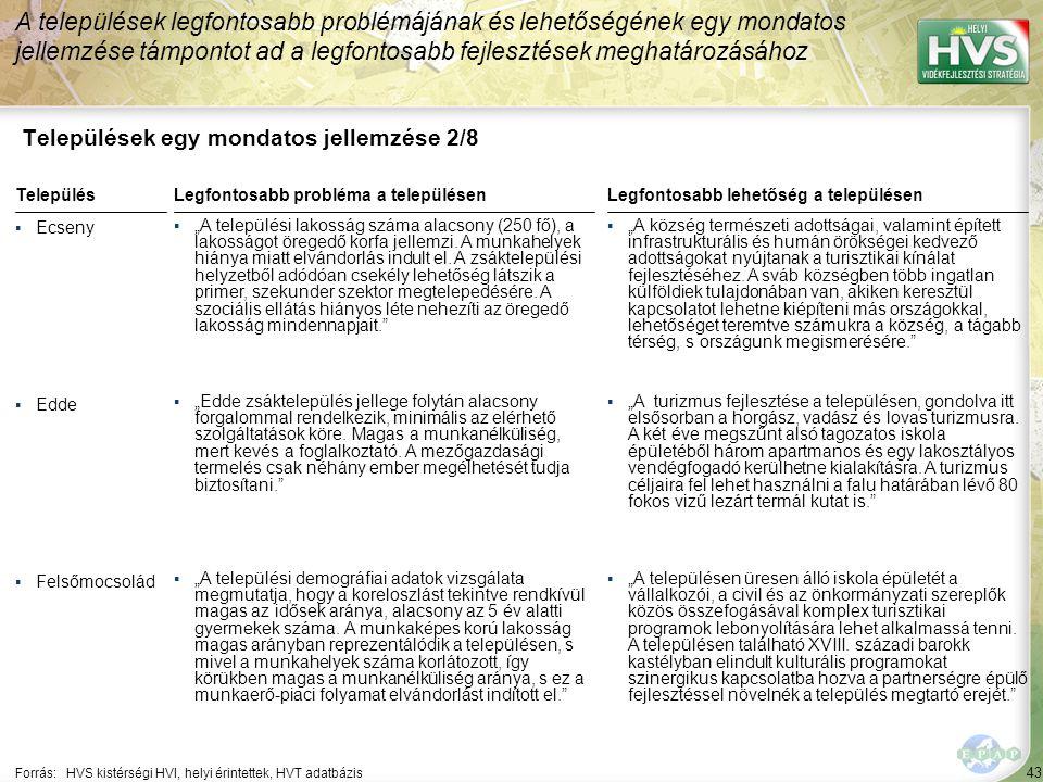 43 Települések egy mondatos jellemzése 2/8 A települések legfontosabb problémájának és lehetőségének egy mondatos jellemzése támpontot ad a legfontosa