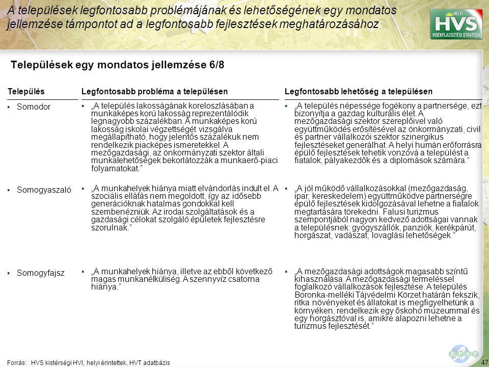 47 Települések egy mondatos jellemzése 6/8 A települések legfontosabb problémájának és lehetőségének egy mondatos jellemzése támpontot ad a legfontosa
