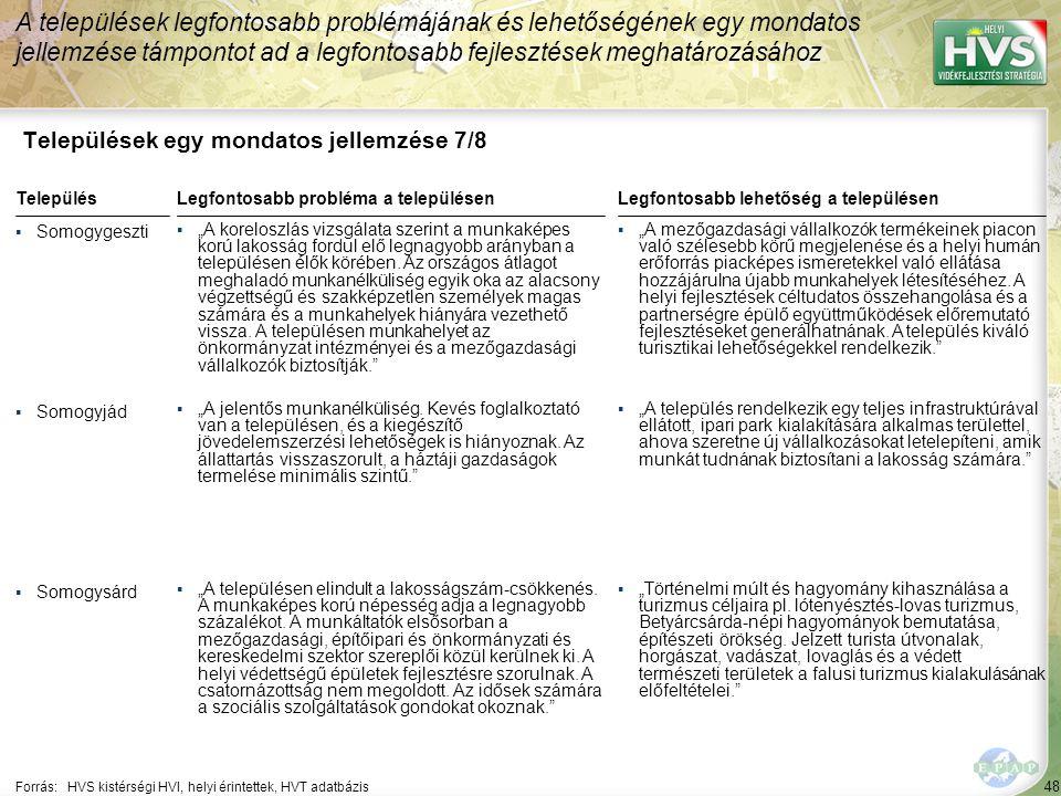 48 Települések egy mondatos jellemzése 7/8 A települések legfontosabb problémájának és lehetőségének egy mondatos jellemzése támpontot ad a legfontosa