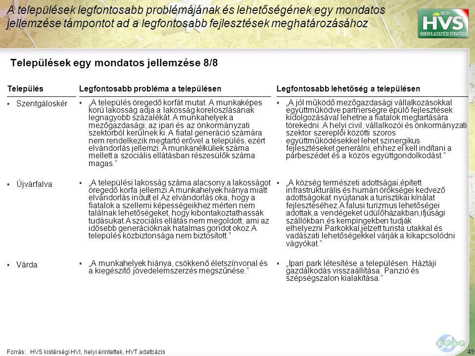 49 Települések egy mondatos jellemzése 8/8 A települések legfontosabb problémájának és lehetőségének egy mondatos jellemzése támpontot ad a legfontosa