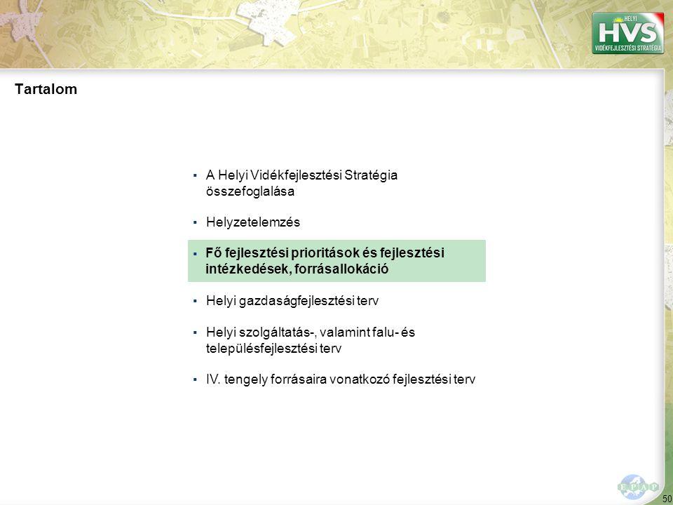 50 ▪A Helyi Vidékfejlesztési Stratégia összefoglalása ▪Helyzetelemzés ▪ ▪Helyi gazdaságfejlesztési terv ▪Helyi szolgáltatás-, valamint falu- és telepü