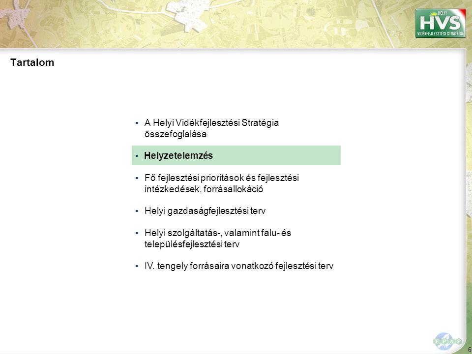 97 ▪A Helyi Vidékfejlesztési Stratégia összefoglalása ▪Helyzetelemzés ▪Fő fejlesztési prioritások és fejlesztési intézkedések, forrásallokáció ▪Helyi gazdaságfejlesztési terv ▪Helyi szolgáltatás-, valamint falu- és településfejlesztési terv ▪ Tartalom IV.