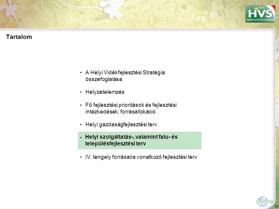 86 ▪A Helyi Vidékfejlesztési Stratégia összefoglalása ▪Helyzetelemzés ▪Fő fejlesztési prioritások és fejlesztési intézkedések, forrásallokáció ▪Helyi