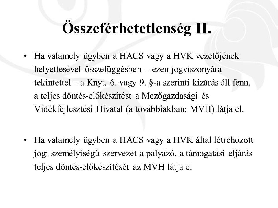 II. Összeférhetetlenség II. Ha valamely ügyben a HACS vagy a HVK vezetőjének helyettesével összefüggésben – ezen jogviszonyára tekintettel – a Knyt. 6