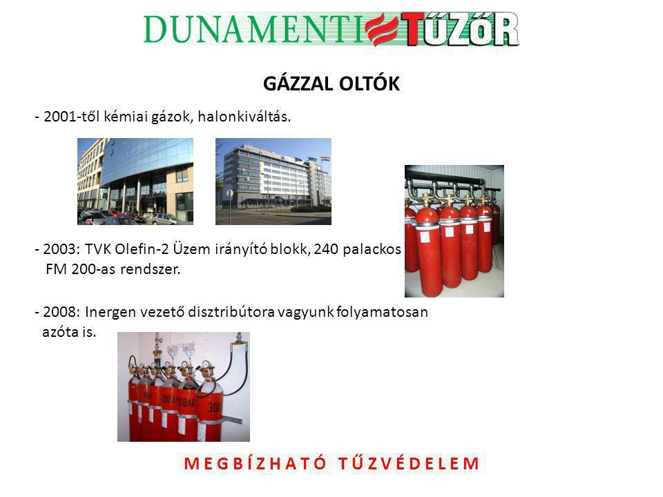 GÁZZAL OLTÓK - 2001-től kémiai gázok, halonkiváltás. - 2003: TVK Olefin-2 Üzem irányító blokk, 240 palackos FM 200-as rendszer. - 2008: Inergen vezető