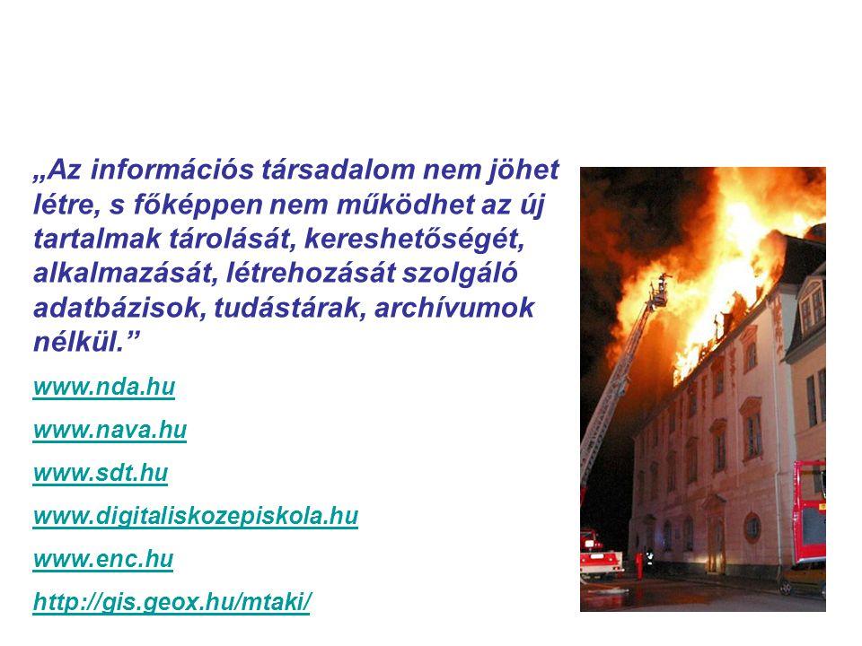 """Kollektív emlékezet a digitális térben """"Az információs társadalom nem jöhet létre, s főképpen nem működhet az új tartalmak tárolását, kereshetőségét, alkalmazását, létrehozását szolgáló adatbázisok, tudástárak, archívumok nélkül. www.nda.hu www.nava.hu www.sdt.hu www.digitaliskozepiskola.hu www.enc.hu http://gis.geox.hu/mtaki/"""