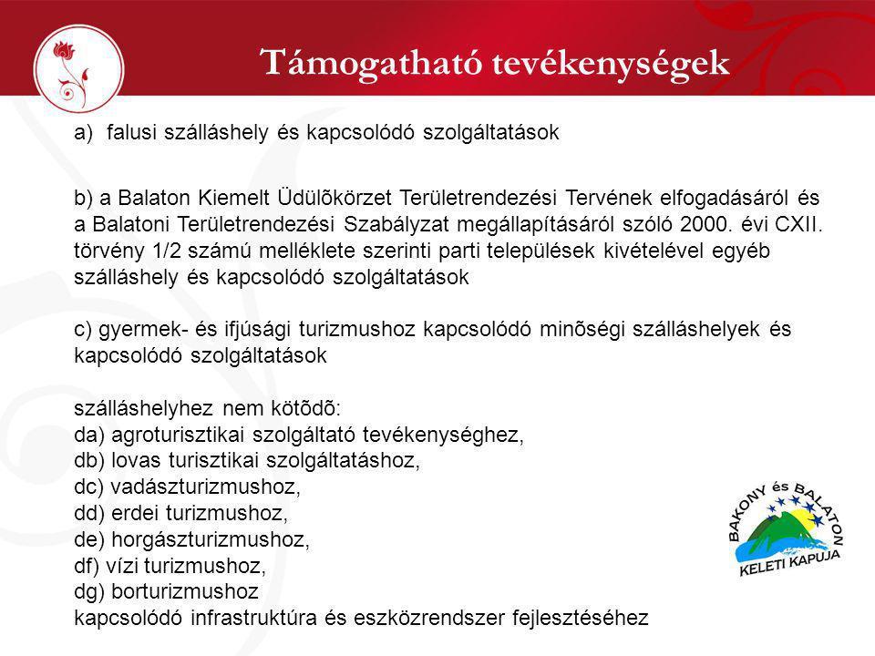Támogatható tevékenységek a)falusi szálláshely és kapcsolódó szolgáltatások b) a Balaton Kiemelt Üdülõkörzet Területrendezési Tervének elfogadásáról és a Balatoni Területrendezési Szabályzat megállapításáról szóló 2000.