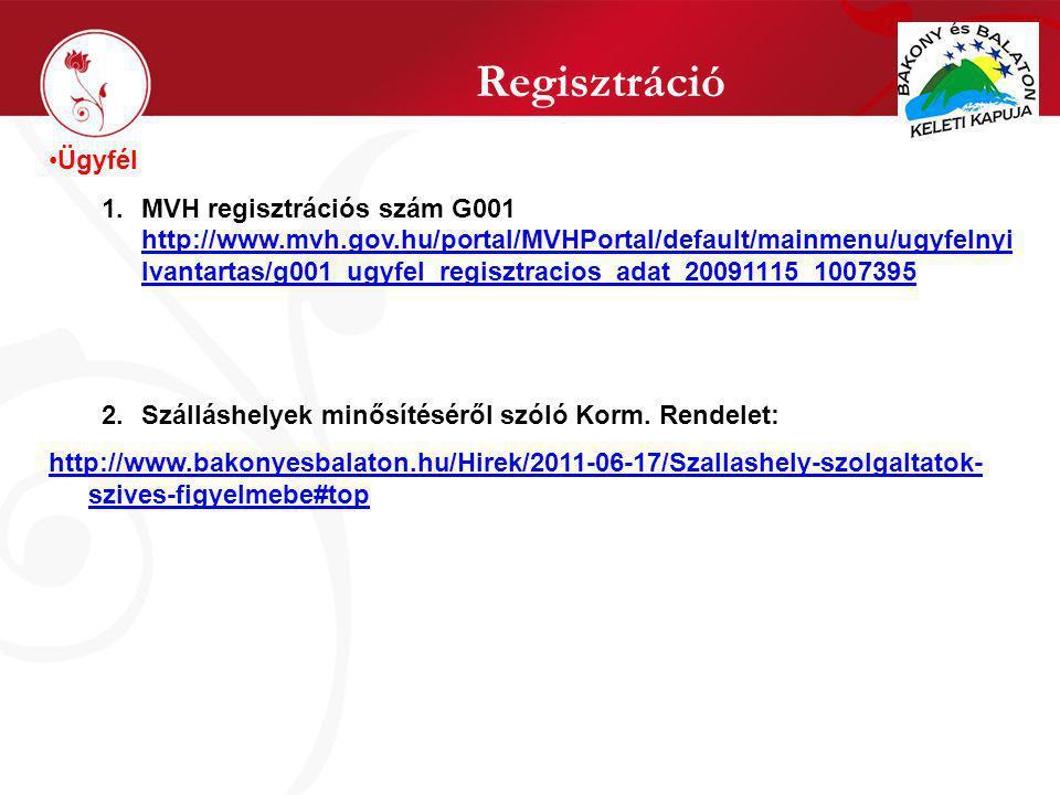 Regisztráció Ügyfél 1.MVH regisztrációs szám G001 http://www.mvh.gov.hu/portal/MVHPortal/default/mainmenu/ugyfelnyi lvantartas/g001_ugyfel_regisztracios_adat_20091115_1007395 http://www.mvh.gov.hu/portal/MVHPortal/default/mainmenu/ugyfelnyi lvantartas/g001_ugyfel_regisztracios_adat_20091115_1007395 2.Szálláshelyek minősítéséről szóló Korm.