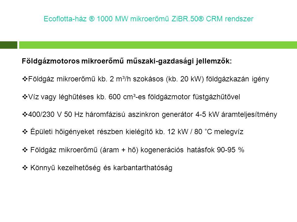 Földgázmotoros mikroerőmű műszaki-gazdasági jellemzők:  Földgáz mikroerőmű kb. 2 m³/h szokásos (kb. 20 kW) földgázkazán igény  Víz vagy léghűtéses k