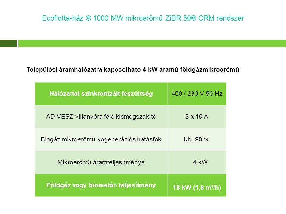 Települési áramhálózatra kapcsolható 4 kW áramú földgázmikroerőmű Hálózattal szinkronizált feszültség400 / 230 V 50 Hz AD-VESZ villanyóra felé kismegs