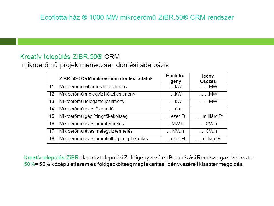 Ecoflotta-ház ® 1000 MW mikroerőmű ZiBR.50® CRM rendszer Kreatív település ZiBR.50® CRM mikroerőmű projektmenedzser döntési adatbázis Kreatív települé