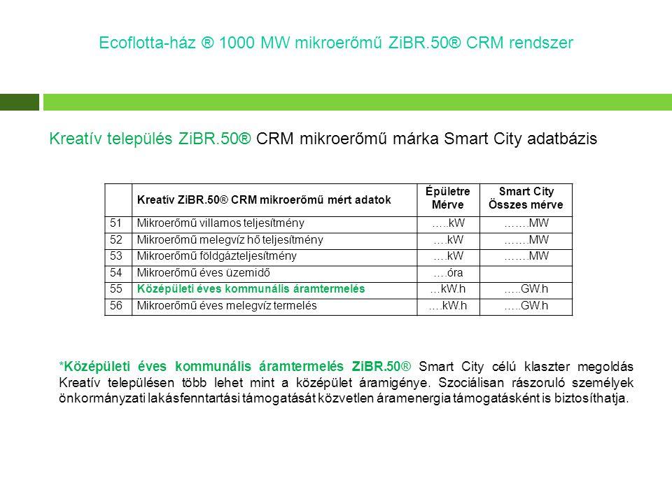 Ecoflotta-ház ® 1000 MW mikroerőmű ZiBR.50® CRM rendszer Kreatív település ZiBR.50® CRM mikroerőmű márka Smart City adatbázis *Középületi éves kommuná