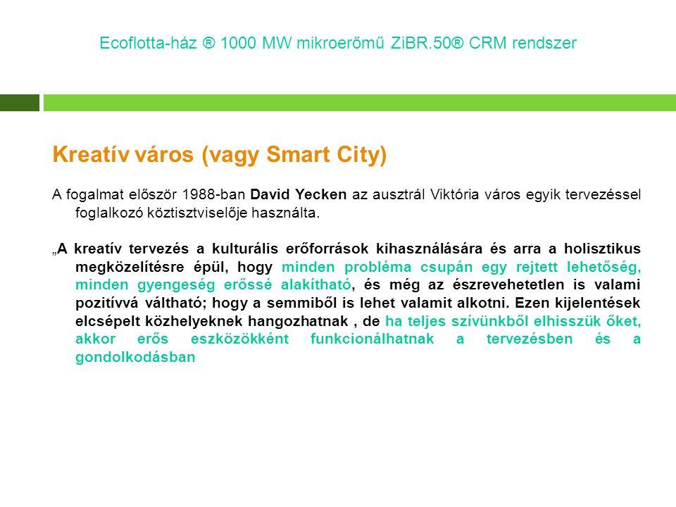 Kreatív város (vagy Smart City) A fogalmat először 1988-ban David Yecken az ausztrál Viktória város egyik tervezéssel foglalkozó köztisztviselője hasz