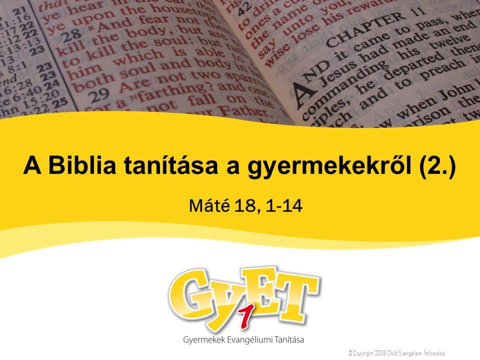 A Biblia tanítása a gyermekekről (2.) Máté 18, 1-14 © Copyright 2009 Child Evangelism Fellowship