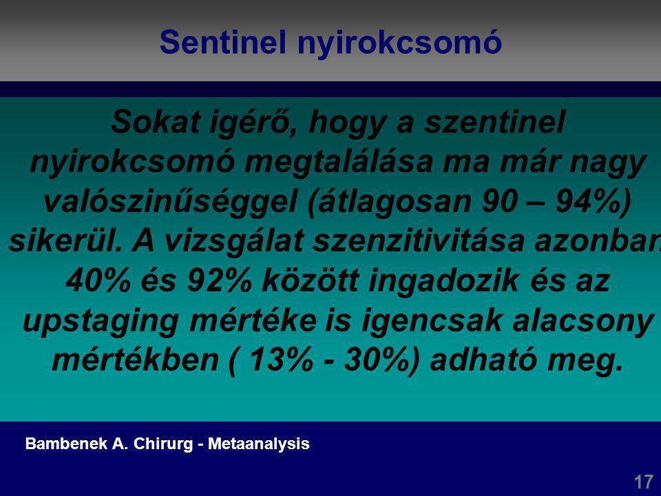 Rectum carcinoma - Laparoszkópos 6 Bärlehner (24.), Berlin : 1992 és 1003 között 194 rectum carcinoma miatt végeztek laparoszkópos resectiót Mély anterior rezekció: 127 betegnél (65,5%) Átlagos eltávolított nycs.: 25,4 (11 – 84!) R0 rezekció: 145 (75%) 90%-ban (174) gépi anasztomózis2 (1%) colonalis anasztomózis 16 (8,2%) exstirpáció Konverzió : 1% (2)Reoperáció: 11,3% (22) Anaszt.