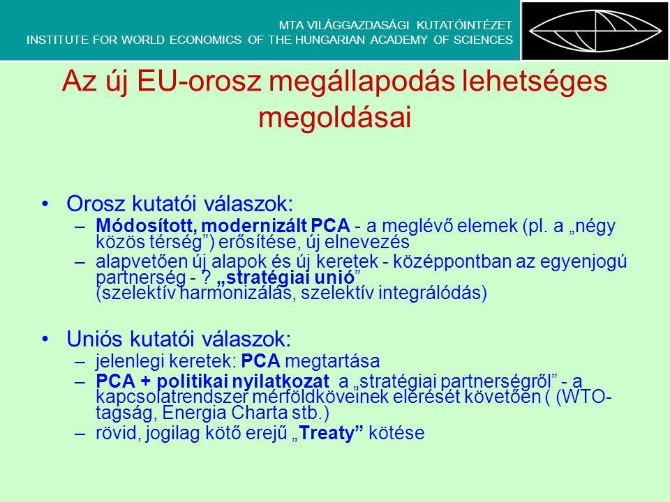 MTA VILÁGGAZDASÁGI KUTATÓINTÉZET INSTITUTE FOR WORLD ECONOMICS OF THE HUNGARIAN ACADEMY OF SCIENCES Az új EU-orosz megállapodás lehetséges megoldásai Orosz kutatói válaszok: –Módosított, modernizált PCA - a meglévő elemek (pl.