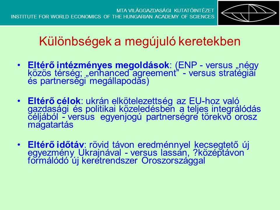 """MTA VILÁGGAZDASÁGI KUTATÓINTÉZET INSTITUTE FOR WORLD ECONOMICS OF THE HUNGARIAN ACADEMY OF SCIENCES Különbségek a megújuló keretekben Eltérő intézményes megoldások: (ENP - versus """"négy közös térség; """"enhanced agreement - versus stratégiai és partnerségi megállapodás) Eltérő célok: ukrán elkötelezettség az EU-hoz való gazdasági és politikai közeledésben a teljes integrálódás céljából - versus egyenjogú partnerségre törekvő orosz magatartás Eltérő időtáv: rövid távon eredménnyel kecsegtető új egyezmény Ukrajnával - versus lassan, középtávon formálódó új keretrendszer Oroszországgal"""