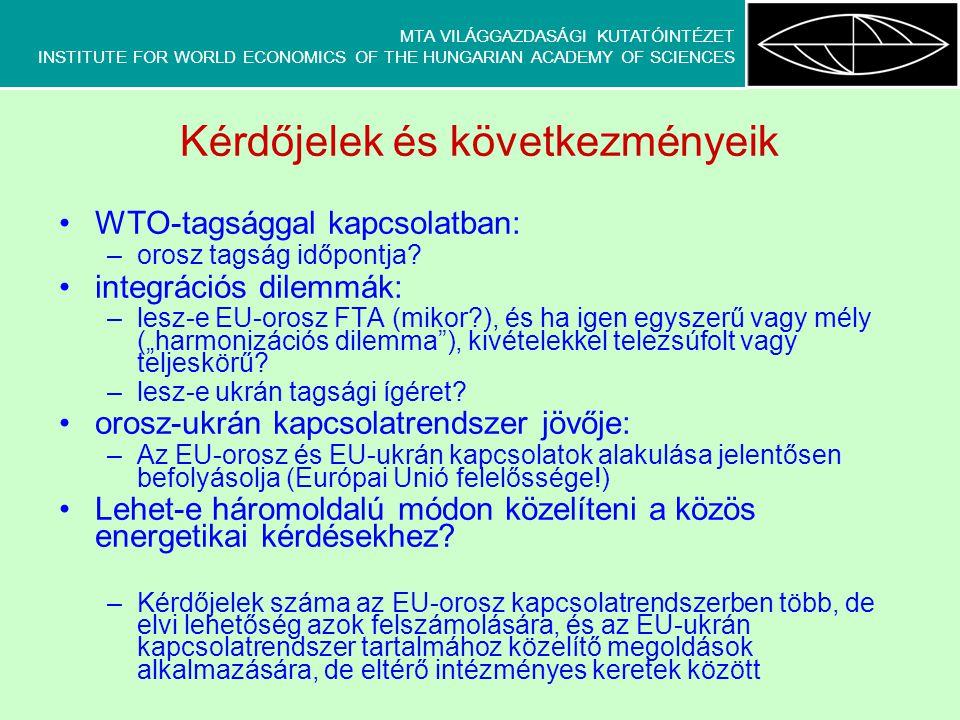 MTA VILÁGGAZDASÁGI KUTATÓINTÉZET INSTITUTE FOR WORLD ECONOMICS OF THE HUNGARIAN ACADEMY OF SCIENCES Kérdőjelek és következményeik WTO-tagsággal kapcsolatban: –orosz tagság időpontja.