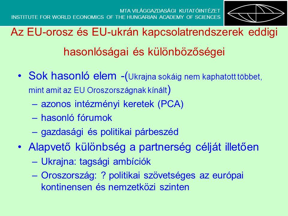 MTA VILÁGGAZDASÁGI KUTATÓINTÉZET INSTITUTE FOR WORLD ECONOMICS OF THE HUNGARIAN ACADEMY OF SCIENCES Az EU-orosz és EU-ukrán kapcsolatrendszerek eddigi hasonlóságai és különbözőségei Sok hasonló elem -( Ukrajna sokáig nem kaphatott többet, mint amit az EU Oroszországnak kínált ) –azonos intézményi keretek (PCA) –hasonló fórumok –gazdasági és politikai párbeszéd Alapvető különbség a partnerség célját illetően –Ukrajna: tagsági ambíciók –Oroszország: .