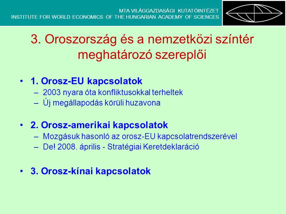 """MTA VILÁGGAZDASÁGI KUTATÓINTÉZET INSTITUTE FOR WORLD ECONOMICS OF THE HUNGARIAN ACADEMY OF SCIENCES Oroszország és Kína: látványos partnerség Jelcin alatt köttetett szövetség (1997 – közös nyilatkozat a """"többpólusú világról ) Putyin alatt megvastagodott, tartalmat kapott szövetség (2001 – """"jó szomszédségi, barátsági és együttműködési megállapodás , 2007 – újabb közös nyilatkozat) Látványosan javuló diplomáciai kapcsolatok – (400 kormány- és állami szintű megállapodás és egyezmény az együttműködés valamennyi lehetséges területén) Valós stratégiai partnerség."""