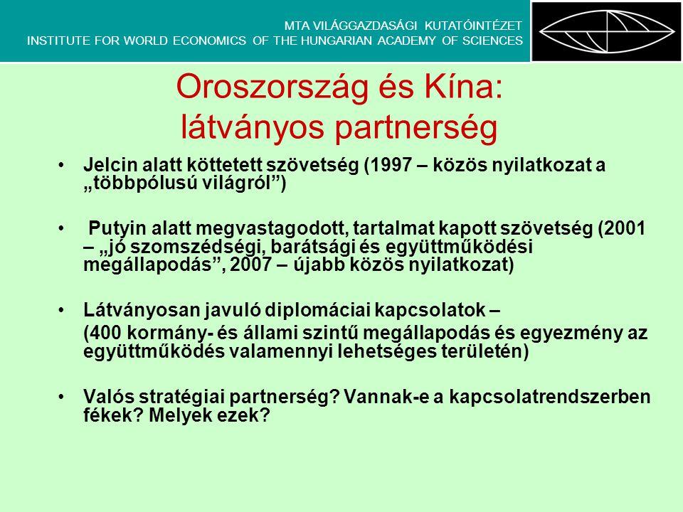 MTA VILÁGGAZDASÁGI KUTATÓINTÉZET INSTITUTE FOR WORLD ECONOMICS OF THE HUNGARIAN ACADEMY OF SCIENCES Az orosz-kínai partnerség határai: 1.