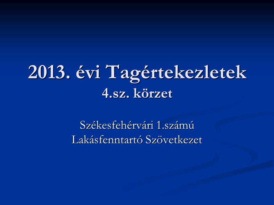 2013. évi Tagértekezletek 4.sz. körzet Székesfehérvári 1.számú Lakásfenntartó Szövetkezet