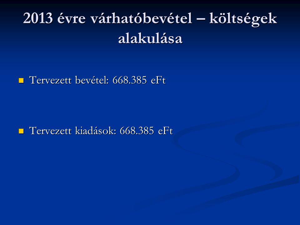 2013 évre várhatóbevétel – költségek alakulása Tervezett bevétel: 668.385 eFt Tervezett bevétel: 668.385 eFt Tervezett kiadások: 668.385 eFt Tervezett