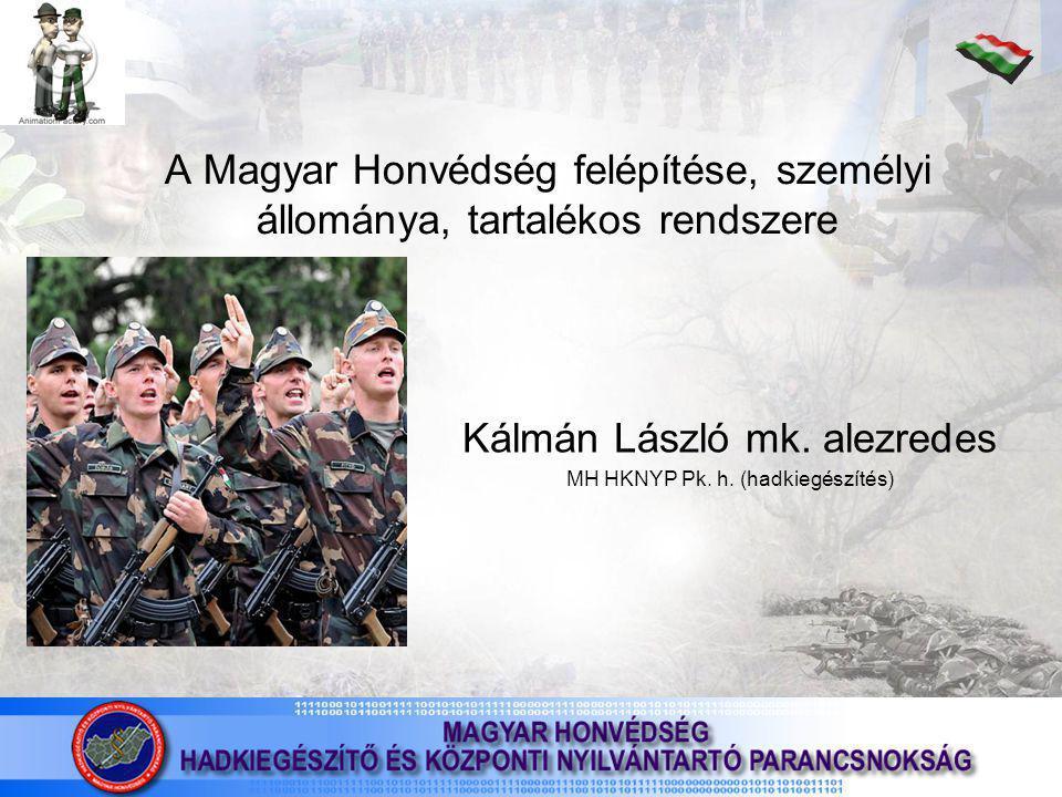 A Magyar Honvédség felépítése, személyi állománya, tartalékos rendszere Kálmán László mk.