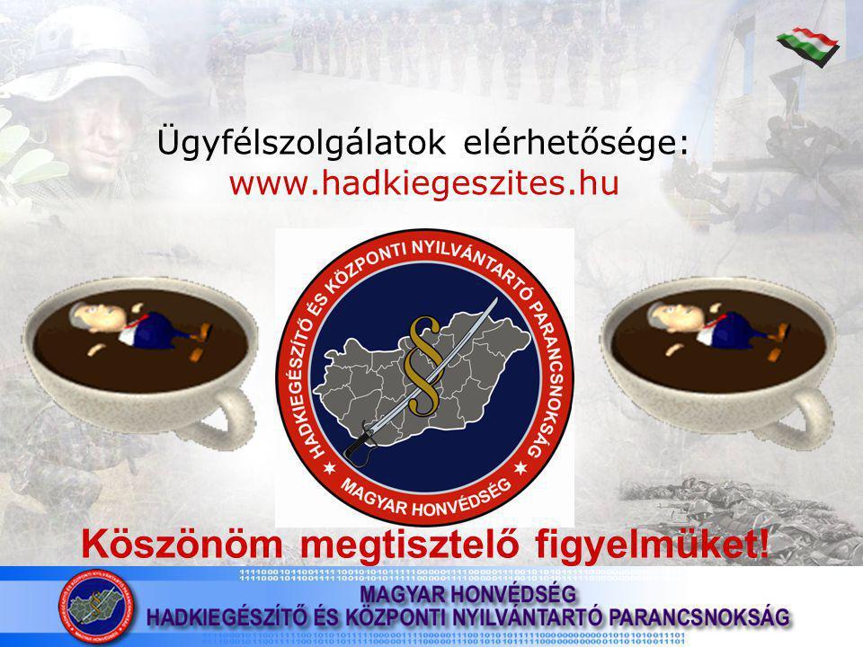 Ügyfélszolgálatok elérhetősége: www.hadkiegeszites.hu Köszönöm megtisztelő figyelmüket!
